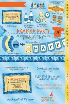 Demigod Personalized Birthday Party DIY Printable Party Kit Instant Download Includes Invitation Percy Jackson $18.50