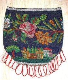 Antique Victorian Scenic Microbeaded Purse Reticule Flowers & Manor from cur-io on Ruby Lane