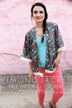 This stylish kimono jacket is easy to sew and uses minimal fabric and sewing time. The jacket is comfortable to wear and is suitable for lightweight fabric