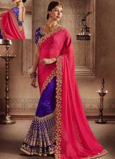 Pink Purple Embroidery Work Marbel Silk Designer Fancy Wedding Half Sarees http://www.angelnx.com/Sarees/Wedding-Sarees