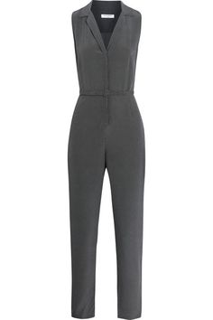 Equipment's 'Adalyn' jumpsuit is crafted from midnight-blue and ivory silk that's been lightly washed to create a luxuriously soft feel. This flattering style has a waist-defining belt and tapers towards the ankle. It can be dressed up or down with heeled sandals for dinner or sneakers at the weekend. Shop it now at NET-A-PORTER  #Equipment