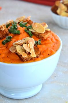 Cream of Carrot Soup with Almond Croutons TheHealthyApple.com #glutenfree #recipe #healthy