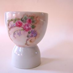 Vintage Egg Cup Handpainted floral by TheOldVintageShoppe on Etsy. VERY PRETTY!