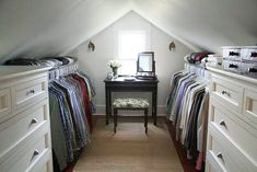 Who needs a walk in closet when you have an attic! Totally doing this when I have my own house!