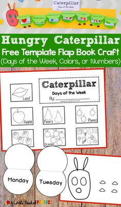 Hungry Caterpillar Flap Book Craft and Free Template: 3 craft templates for kids to practice the days of the week counting to 5 or naming colors. (Preschool Kindergarten First Grade Spring Bugs Book Extension) Very Hungry Caterpillar Printables, Hungry Caterpillar Craft, Caterpillar Book, Free Preschool, Preschool Learning, Teaching Kids, Book Activities, Preschool Activities, Days Of The Week Activities