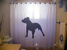 Pitbull Shower Curtain Dog bathroom kids bath decor pit bull black puppy dogs pet novelty on Etsy, $40.99