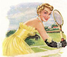 I love playing badminton :) Vintage Ephemera, Vintage Art, Vintage Photos, Women's Badminton, Evolution Of Fashion, Retro Girls, Illustrations Posters, Vintage Illustrations, Fashion Illustrations