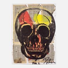 Newspaper colored Skull Style Special Edition by Patrice Farameh Vanitas Vanitatum, Skull Fashion, Skulls And Roses, Skull Print, Art Of Living, Love Art, Mixed Media Art, Collage Art, Illustration Art
