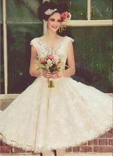 Sexy Short Bridal Dresses Tea Length Wedding Dress 2015 New Vestido De Casamento Vintage Lace Wedding Gowns Vestido Noiva Curto
