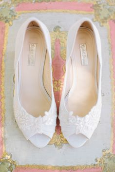 White lace wedding heels: http://www.stylemepretty.com/texas-weddings/austin/2014/10/13/romantic-spring-wedding-on-a-budget/ | Photography: Bella Reese - http://www.bellareesephotography.com/