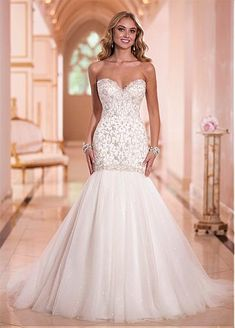 Charming Tulle Sweetheart Neckline Natural Waistline Mermaid Wedding Dress - SILVER or Ivory with Gold