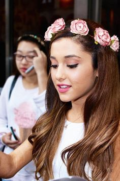 Ariana Grande wearing a flower headband