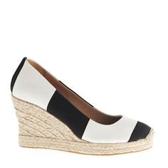 An #espadrille with day-to-evening panache: Women's Seville stripe espadrilles in black ivory stripe via J.Crew
