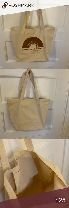"""Canvas Tote Bag - Columbia Pictures Logo; NWOT Canvas Tote Bag; Columbia Pictures Studio Logo; Let Us Entertain You; inner pocket; approximately 13"""" (h) x 19"""" (w) x 5&1/2"""" (d) non Bags Totes"""