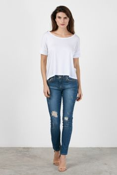 CALCA JEANS COMFORT SKINNY ILHOS-AZUL MEDIO - 058605|0993 - canalconcept
