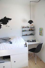 black and white kid's room / FargeBarn Big Boy Bedrooms, Kids Bedroom, Bedroom Ideas, Camas Murphy, White Kids Room, Boys Desk, Ikea, Teenage Room, Kids Room Design