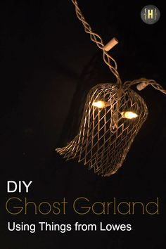 Make this quick + easy ghouly ghost garland using gutter strainers and light strands | {Home-ology} modern vintage