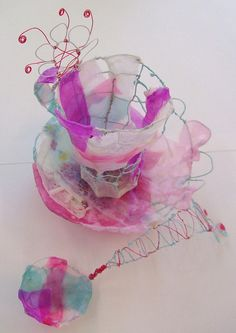 This cup was one of the lovely pieces created during the workshop by one of the students at the RBSA Gallery workshop. Sculpture Textile, Textile Art, Pink Tea Cups, Alice In Wonderland Tea Party, Textiles, Tea Art, Good Enough To Eat, My Cup Of Tea, Wire Art