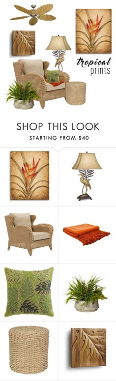 """Tropical Prints"" by alynncameron ❤ liked on Polyvore featuring interior, interiors, interior design, home, home decor, interior decorating, Pacific Coast, Indigo 7, Pier 1 Imports and Frontgate"