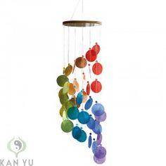 Muschel Windspiel, Spirale, Regenbogenfarben, ca. 60 cm