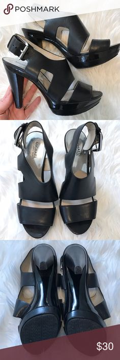 MICHAEL Michael Kors Sandal Heel Super adorable and comfortable Michael Kors strait sandal heel. Size 9. Leather & silver hardware. Worn once. Like new condition. MICHAEL Michael Kors Shoes Heels