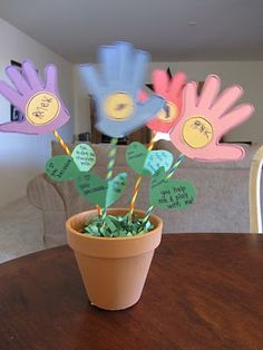 Handprint Flowers in a Pot - Mother's Day or Spring craft