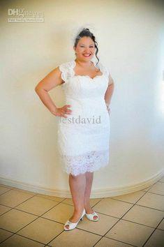 Short Lace Plus Size Wedding Dress PS116 Short wedding dresses
