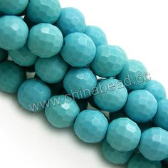 Gemstone Beads, Imit. Blue Turquoise, Faceted round, Approx 6mm, Hole: Approx 1mm, 66pcs per strand, Sold by strands