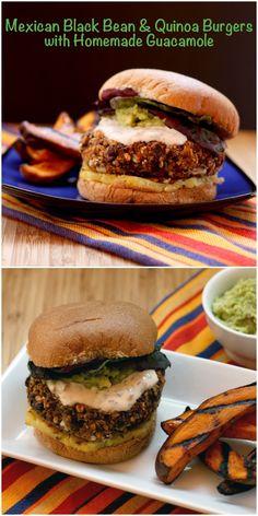 Mexican Black Bean & Quinoa Burgers with Homemade Guacamole   cupcakesandkalechips.com   #vegetarian