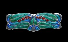 LIBERTY & CO Arts And Crafts Brooch Silver Gold Enamel H: 1.4 cm (0.55 in)  W: 4 cm (1.57 in)  British, c.1900