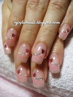 Romantic Heart Nail Art Designs – For Creative Juice Romantic Heart Nail Art Designs – For Creative Juice,nails Pink Glitter French Tips Nail Design with Hearts. Frensh Nails, Pink Gel Nails, Fancy Nails, Love Nails, Pretty Nails, Pretty Toes, Acrylic Nails, Heart Nail Art, Heart Nails