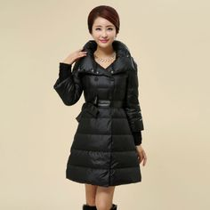 Womens Winter Double Breasted Stand Collar Slim Warm Outwear Fashion Medium-long Down Jacket