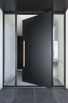 black exterior pivot door - like the window either side