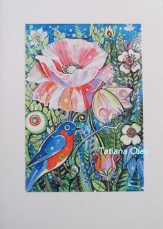 "Greeting card , Blank Note card  ""Poppy ""  by Tatiana Oles #IllustrationArt"