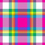 80's graffiti color-inspired plaid pattern by La Familia; a like color palette is used in Fall 2015