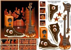 Hot Birthday on Craftsuprint designed by Janyce Cotterill - Another great teen design but his one is hot hot hot! This guitar is on fire - as are the greetings!A great card to layer with extra embellishments for you to add to card front, insert, envelope or anywhere else you desire. The greetings are sized and designed to go in the top left hand corner but it is up to you where you use them. Don't forget you can still use the ones left again for the envelope, insert, gift. There is a blank…