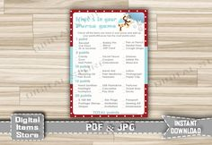 Winter Monkey Whats In Your Purse Game Printable - Baby Shower Whats In Your Purse with Monkey on Snow - Instant Download - ms1 by DigitalitemsShop on Etsy