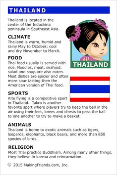 MakingFriends Facts about Thailand Printable Thinking Day fact card for our passports. Perfect if you chose Thailand for your Girl Scout Thinking Day or International Night celebration. Teaching Geography, World Geography, Cultural Studies, Social Studies, Continents And Countries, Around The World Theme, Kids Education, History Education, Teaching History