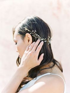 Hair down and curled with hair vine from Brides and Hairpins with gold wiring and pearls. Cavin Elizabeth Photography - film photographer in San Diego.