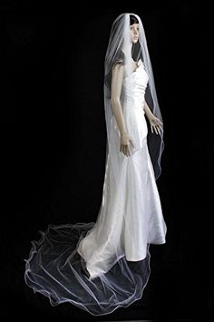 Bridal Veil Diamond (Off) White 1 Tier Cathedral Length With Nylon Pencil Edge *** You can get more details by clicking on the image.