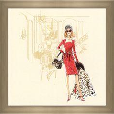 FramedCanvasArt.com Robert Best ' Dress Barbie' Framed Fashion Wall Decor