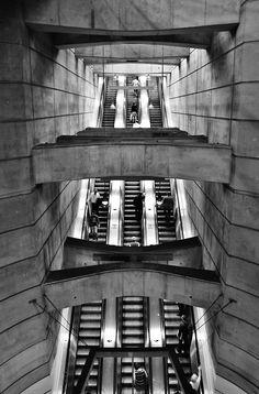 "photographsbyjulia: ""Escalator from Vienna's Schottenring S-Bahn (Subway) station "" Austria, Honeymoon Pictures, S Bahn, Solitude, Concrete, Buildings, Sweet Home, Public, Design"