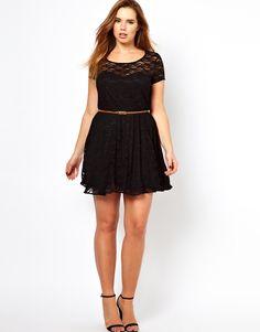 ASOS Curve   Lace Skater Dress With Belt