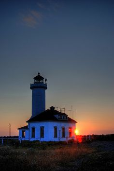 Point Wilson Lighthouse at sunset, Port Townsend,  Washington, US
