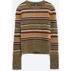 Zara Knit Sweater (155 BRL) ❤ liked on Polyvore featuring tops, sweaters, multicoloured, multi colored sweater, colorful tops, colorful sweaters, brown knit sweater and zara top