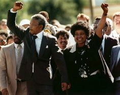 Nelson Mandela spent the first 18 years of his prison term on Robben Island, before being transferred to Pollsmoor prison in Cape Town, and then Victor Verster prison outside Paarl, from where he was released on Sunday, 11 February Nelson Mandela, Winnie Mandela, First Black President, Black Presidents, Iconic Photos, Apartheid, Girl Running, African American History, Revolutionaries