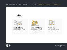 Arc Presentation Design by Alpha Omega Powerpoint Design, Powerpoint Presentations, Presentation Design, Presentation Templates, Concept Architecture, Architecture Design, Design Commercial, Cool Animations, Lorem Ipsum
