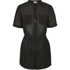 **Contrast Mesh Playsuit by Unique ($120) ❤ liked on Polyvore featuring jumpsuits, rompers, dresses, playsuit, romper, jumpsuit, bodysuit, black, mesh jumpsuit and long-sleeve rompers