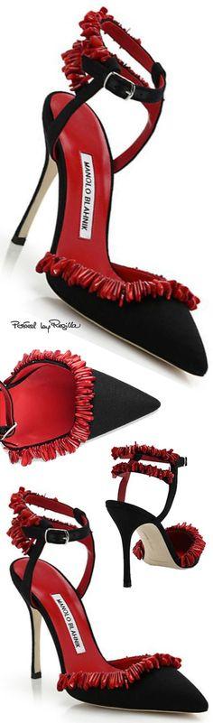Manolo Blahnik ~ Ankle Strap Pumps, Black w Red Fringe  via Regilla
