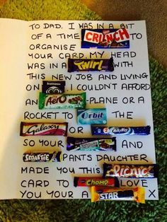 Candy bar card